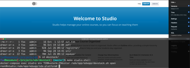 A screenshot of a working devstack copy of open edX studio.